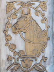 bas-relief of a horse