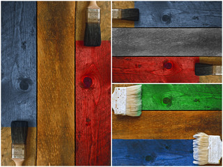 Collage of paintbrushes staining timber