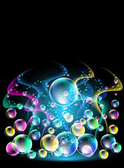 Smoke and versicoloured bubbles