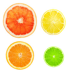 Citrus fruit slices isolated