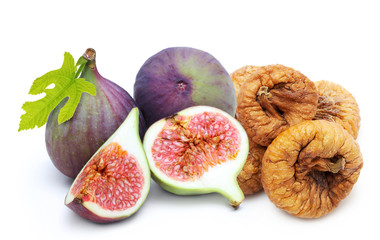Fresh and dried fruit figs heap
