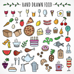 Hand drawn set of food icons
