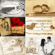 Wedding in retro style collage