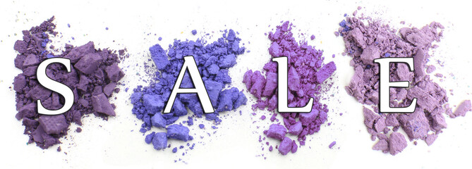 Sale concept. Colorful crushed eyeshadow