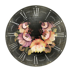 Clock with flowers.