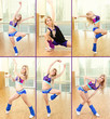 Collage of photos with beautiful woman dancing in hall
