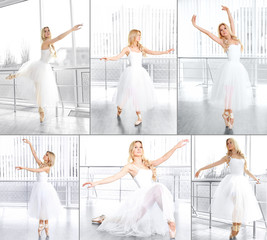 Collage of photos with balerina in ballet class