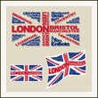 UK flag made of words major cities. Concept