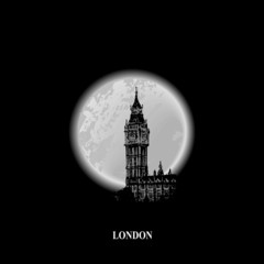 Silhouette of Big Ben tower on the background a full moon