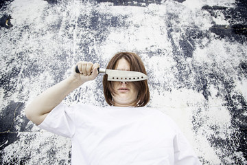 Girl covered knife