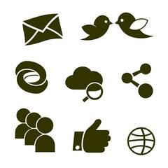 social network icons  links twitter bird cloud  mail like chain