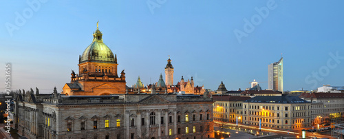 canvas print picture Panorama Skyline Leipzig City