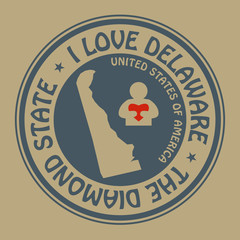 Stamp with text I Love Delaware inside, vector illustration