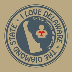 Stamp with text I Love Delaware inside, vector illustration