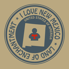 Stamp with text I Love New Mexico inside, vector illustration