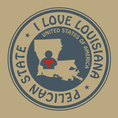 Stamp with text I Love Louisiana inside, vector illustration