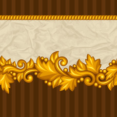 Seamless pattern with baroque ornamental floral gold elements.