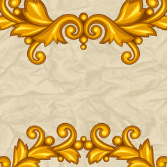 Background with baroque ornamental floral gold elements.