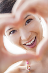 Chinese Asian Woman Girl Hand Heart Finger Frame