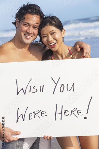 Poster Asian Couple at Beach Wish You Were Here Sign