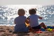 canvas print picture -  little children  on beach