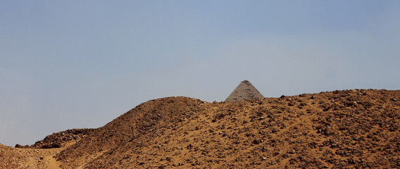 Pyramids in desert of Egypt in Giza