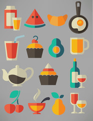 food and beverage mix in flat style