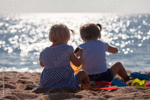 canvas print picture  little children  on beach