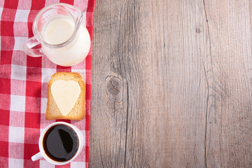 coffee, toast and milk