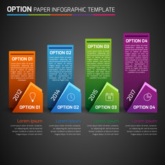 One,two,three,four - option business infographic, dark