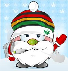 jamaican Santa Claus cartoon on background