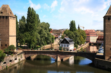 View on Ponts Couverts in Strasbourg Old Town, France, Alsace