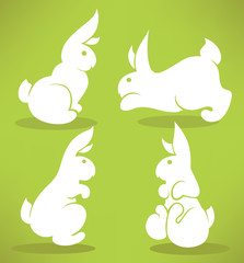 white Easter rabbits silhouettes