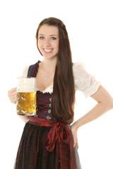 Junges Mädchen im Dirndl mit Bierkrug