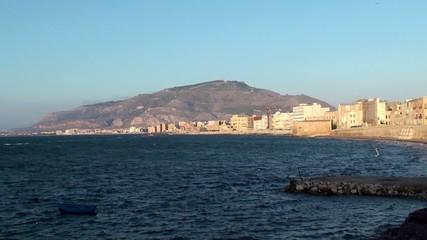 """Old stone promenade """"Bastione Conca"""" of Trapani city. Sicily"""