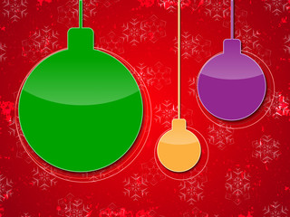 Christmas bubbles on red grunge background