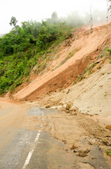 Natural disasters landslides during the rainy season in Thailand