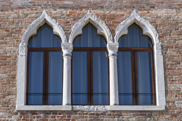 Ancient arched windows typical of Venice
