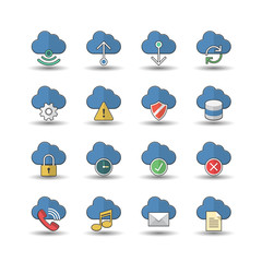 Flat color style Cloud Computer icons set