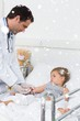 Composite image of doctor injecting ill girl
