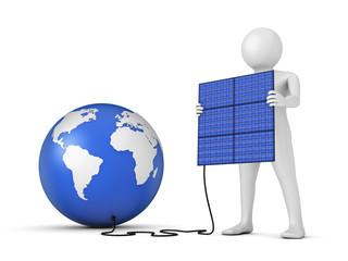 man and solar panel