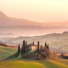 Sunny landscapes and beautiful morning in Tuscany