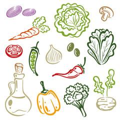 Gemüse, Salat, Rohkost, Vektor Set
