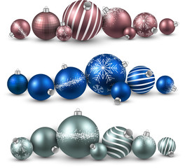 Set of colorful christmas balls.