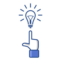 Concept Idea. Forefinger Pointing at Light Bulb.