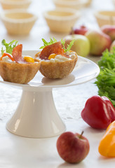 salt tartlets with  peperoni