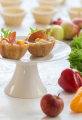 salt tartlets with  peperoni