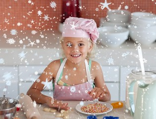 Composite image of lovely daughter baking at home