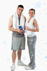 Composite image of portrait of a couple going to practice sport