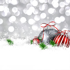 Silver winter background with christmas balls.